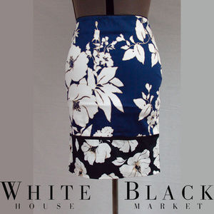 WHBM Blue and White Floral Pencil Skirt